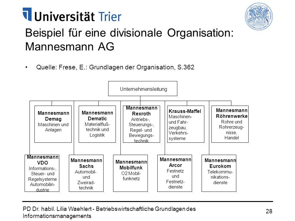 Beispiel für eine divisionale Organisation: Mannesmann AG
