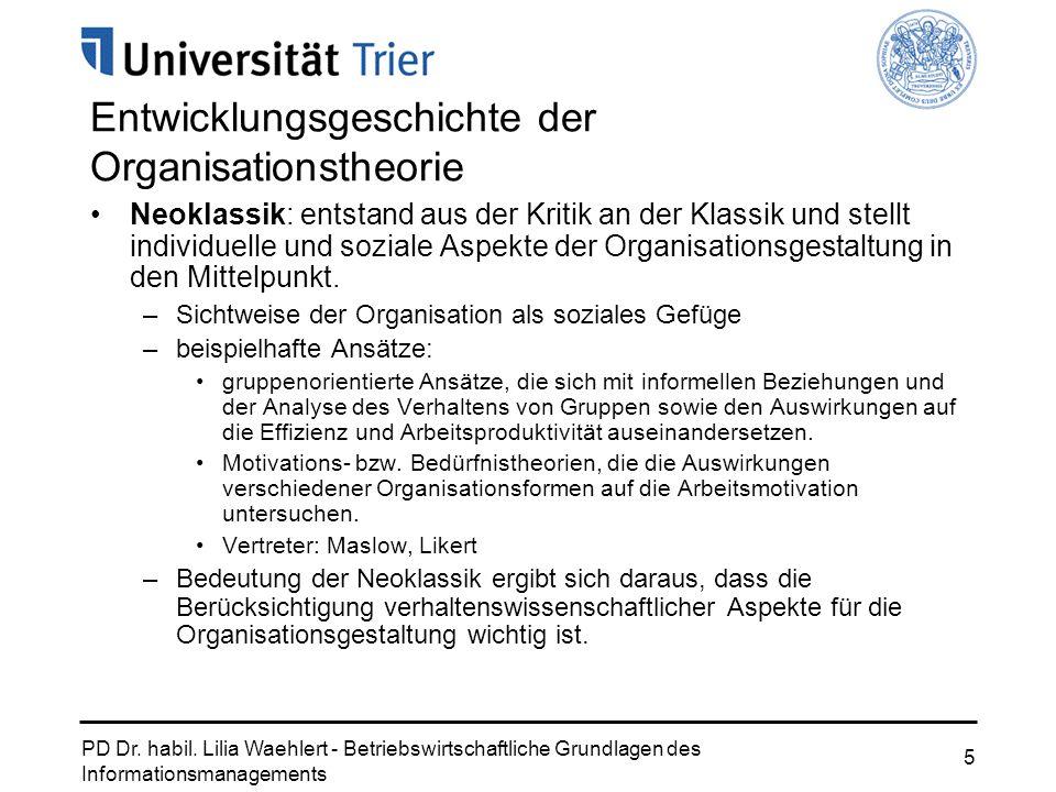 Entwicklungsgeschichte der Organisationstheorie