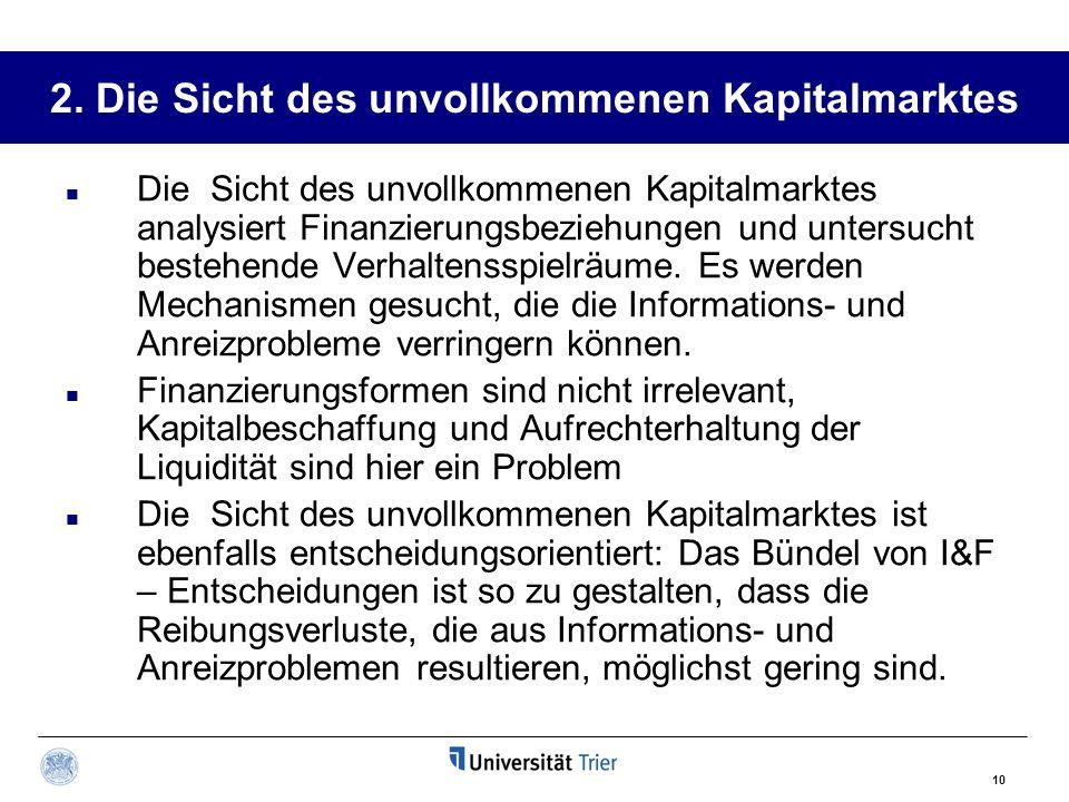 2. Die Sicht des unvollkommenen Kapitalmarktes