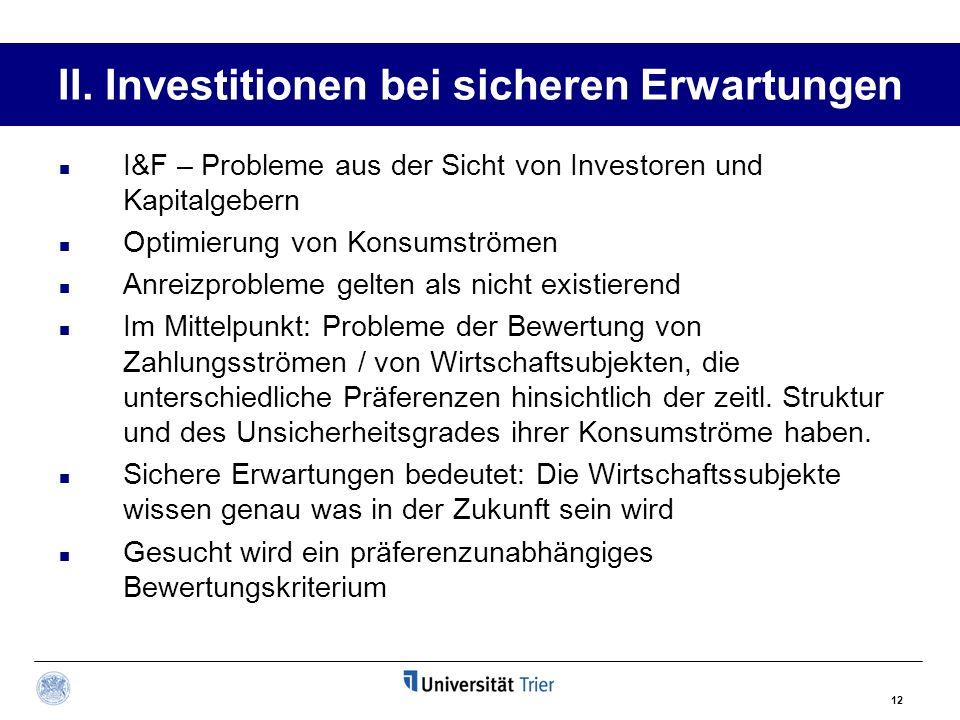 II. Investitionen bei sicheren Erwartungen