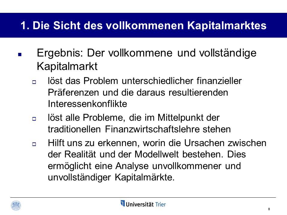 1. Die Sicht des vollkommenen Kapitalmarktes
