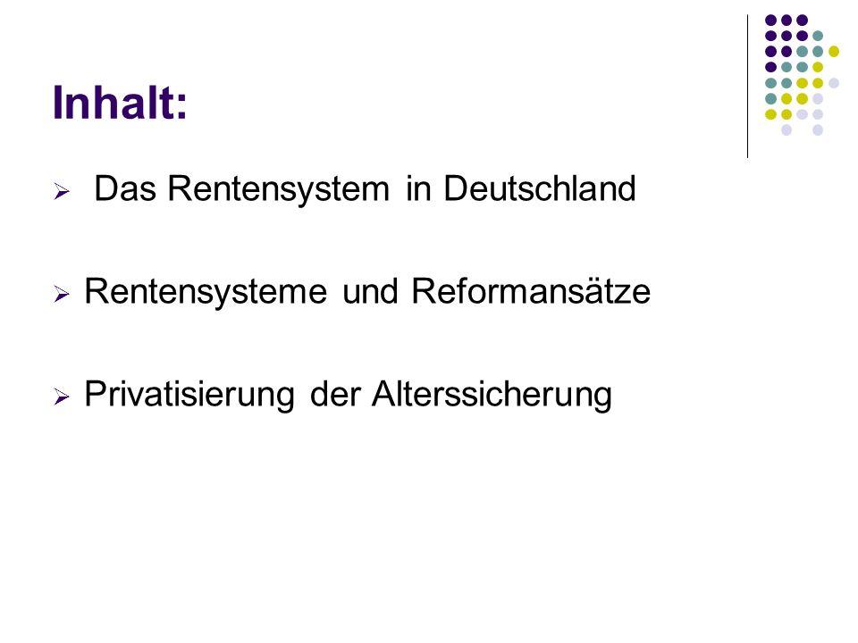 Inhalt: Das Rentensystem in Deutschland