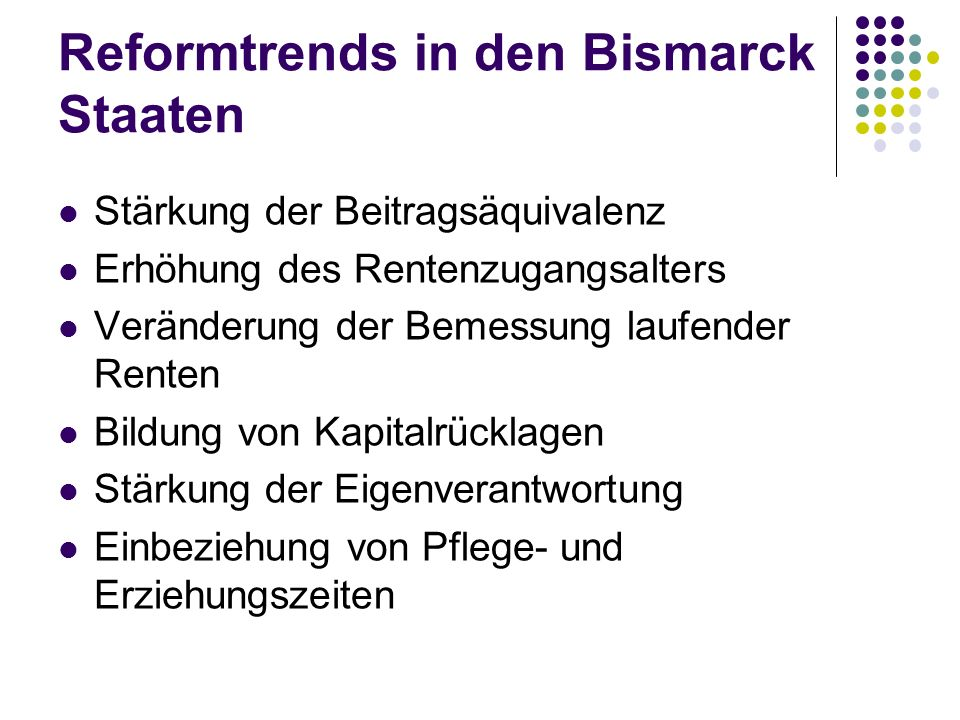 Reformtrends in den Bismarck Staaten
