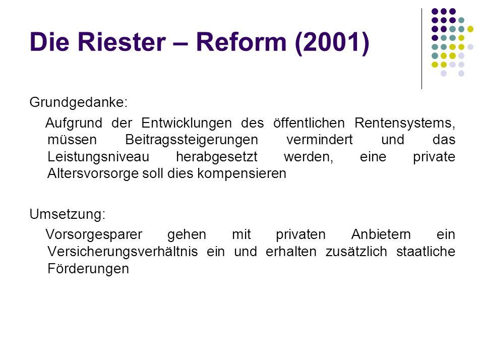 Die Riester – Reform (2001)