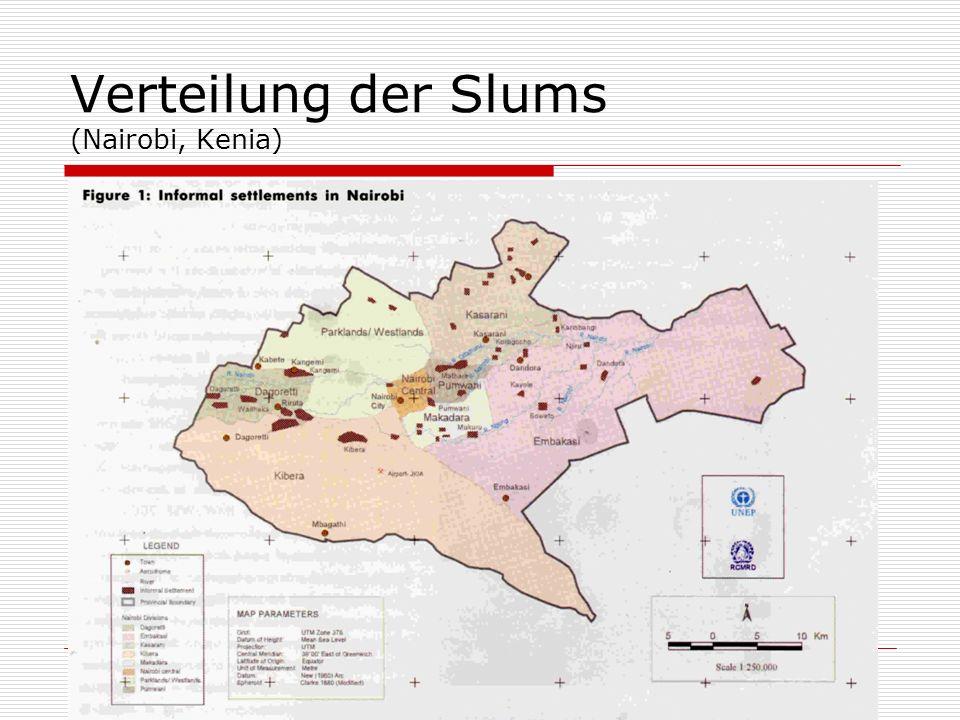 Verteilung der Slums (Nairobi, Kenia)