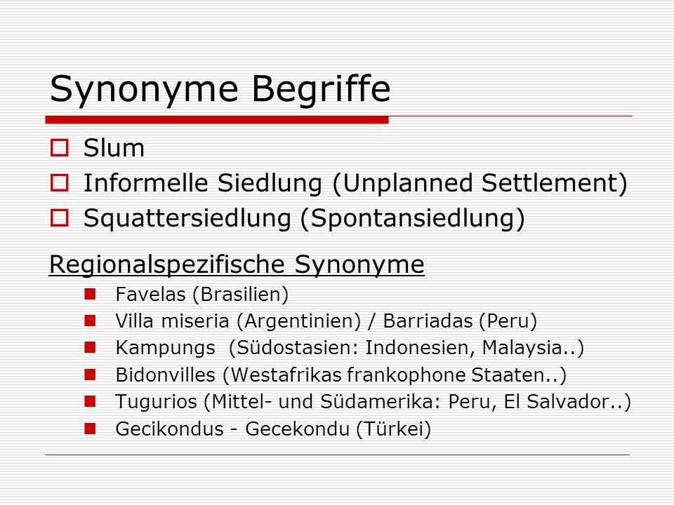 Synonyme Begriffe Slum Informelle Siedlung (Unplanned Settlement)