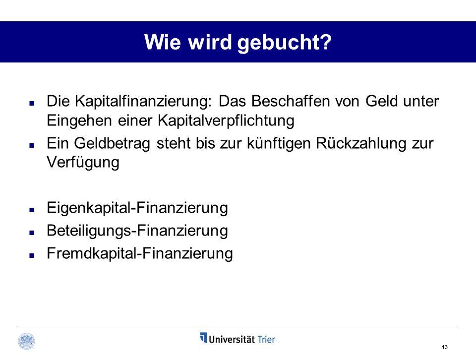 Wie wird gebucht Die Kapitalfinanzierung: Das Beschaffen von Geld unter Eingehen einer Kapitalverpflichtung.
