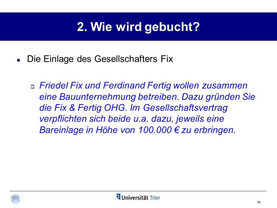 2. Wie wird gebucht Die Einlage des Gesellschafters Fix