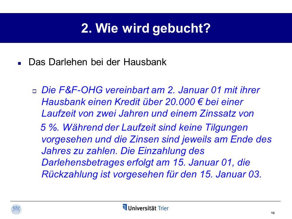 2. Wie wird gebucht Das Darlehen bei der Hausbank