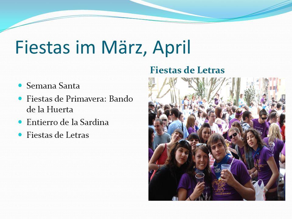 Fiestas im März, April Fiestas de Letras Semana Santa