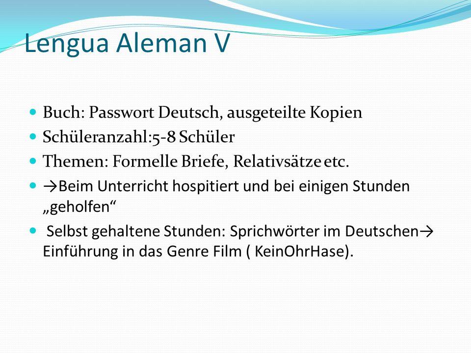Lengua Aleman V Buch: Passwort Deutsch, ausgeteilte Kopien