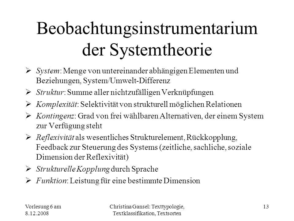 Beobachtungsinstrumentarium der Systemtheorie