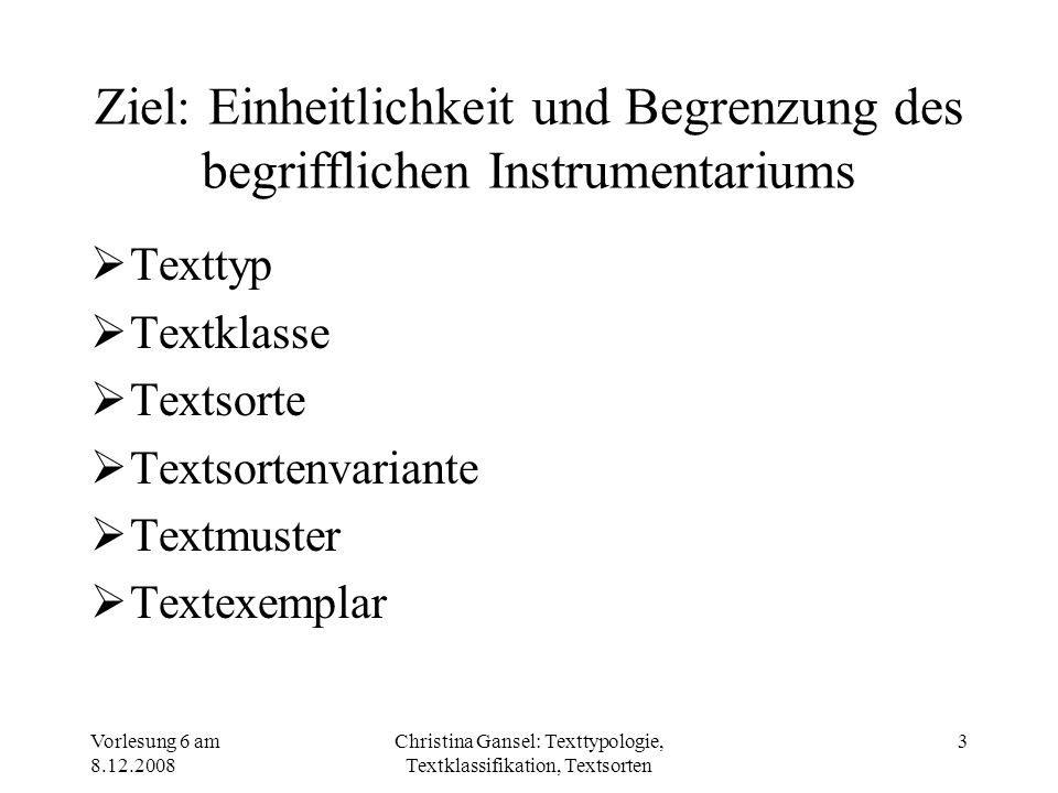 Christina Gansel: Texttypologie, Textklassifikation, Textsorten