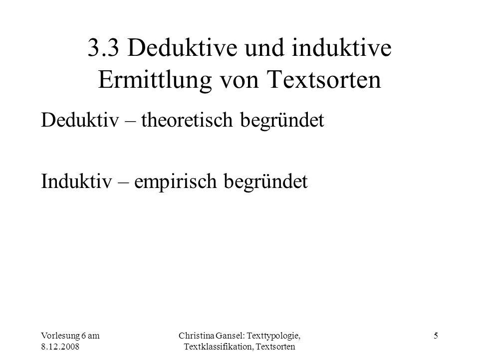 3.3 Deduktive und induktive Ermittlung von Textsorten