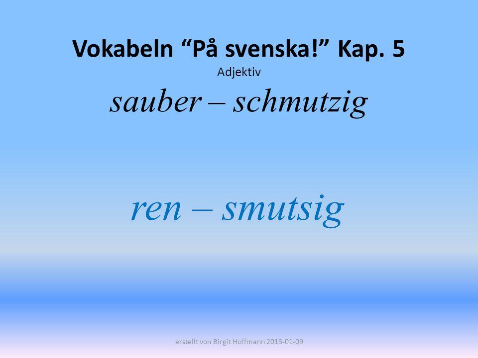 Vokabeln På svenska! Kap. 5 Adjektiv sauber – schmutzig