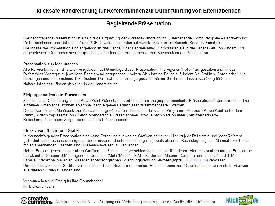 klicksafe-Handreichung für Referent/innen zur Durchführung von Elternabenden Begleitende Präsentation