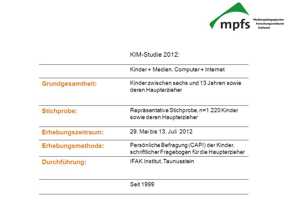 KIM-Studie 2012: Grundgesamtheit: Stichprobe: Erhebungszeitraum: