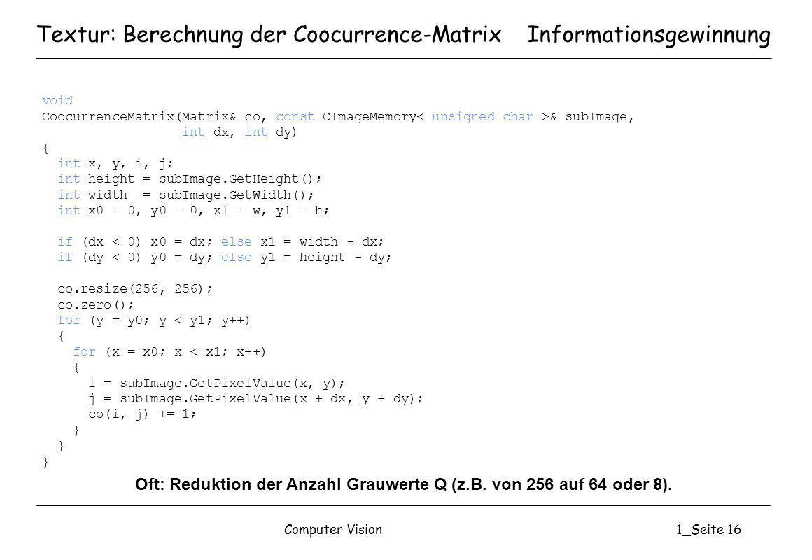 Textur: Berechnung der Coocurrence-Matrix