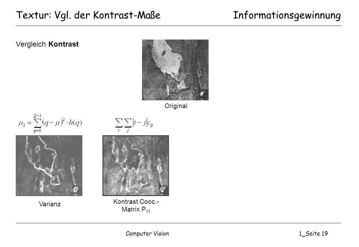 Textur: Vgl. der Kontrast-Maße