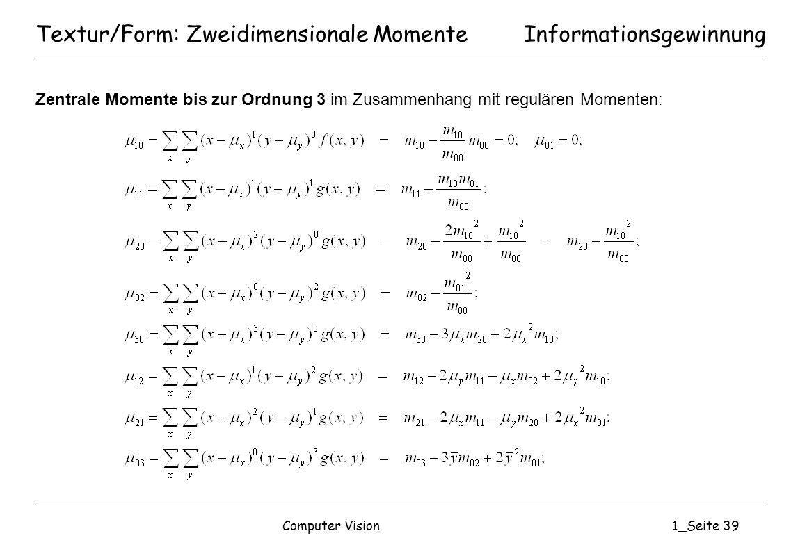 Textur/Form: Zweidimensionale Momente