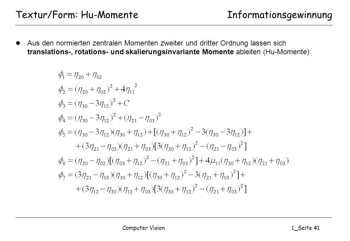 Textur/Form: Hu-Momente