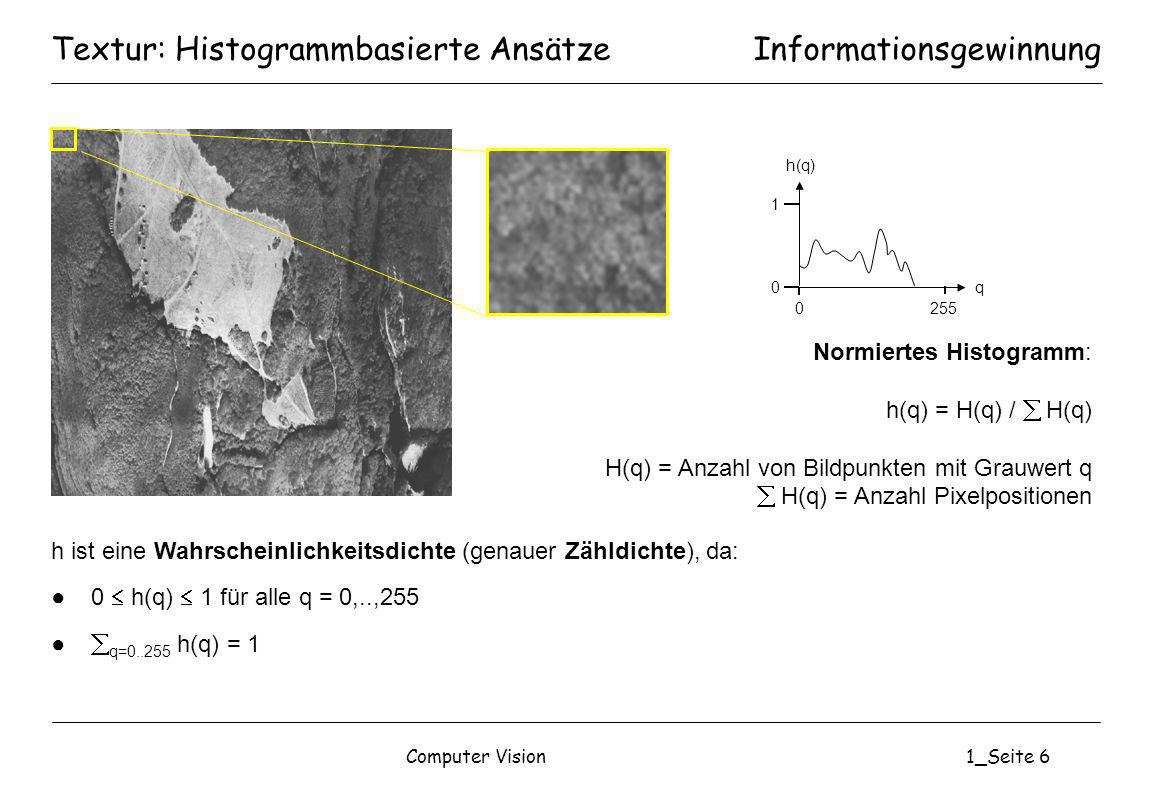 Textur: Histogrammbasierte Ansätze