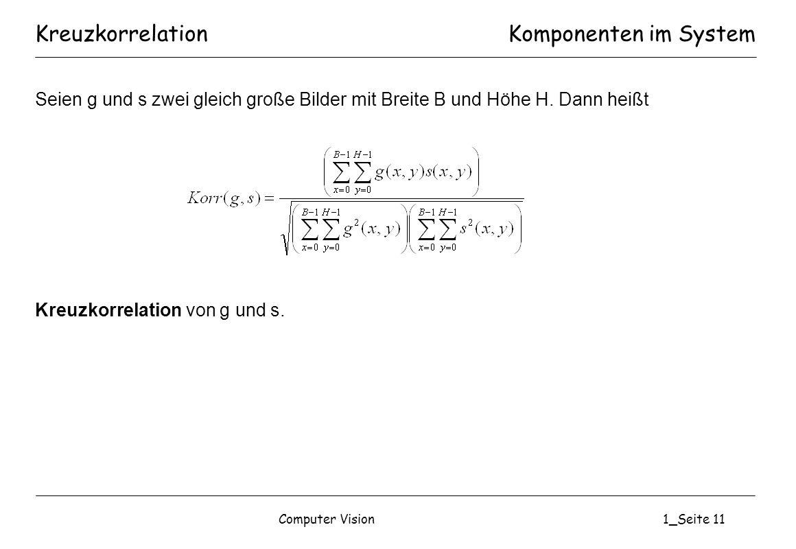 Kreuzkorrelation Komponenten im System