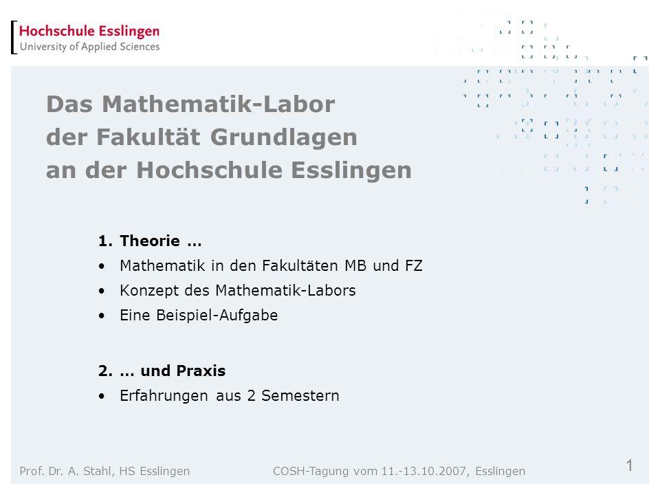 Das Mathematik-Labor der Fakultät Grundlagen an der Hochschule Esslingen