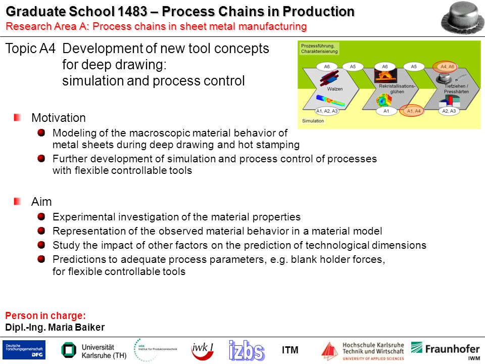 Topic A4 Development of new tool concepts for deep drawing: simulation and process control