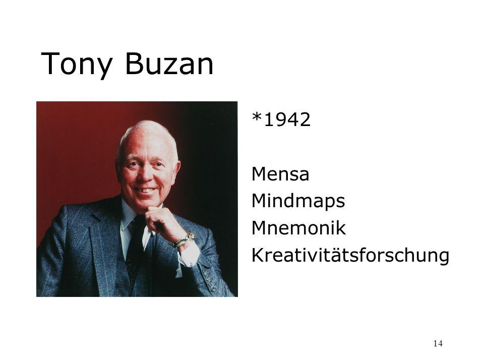 Tony Buzan *1942 Mensa Mindmaps Mnemonik Kreativitätsforschung