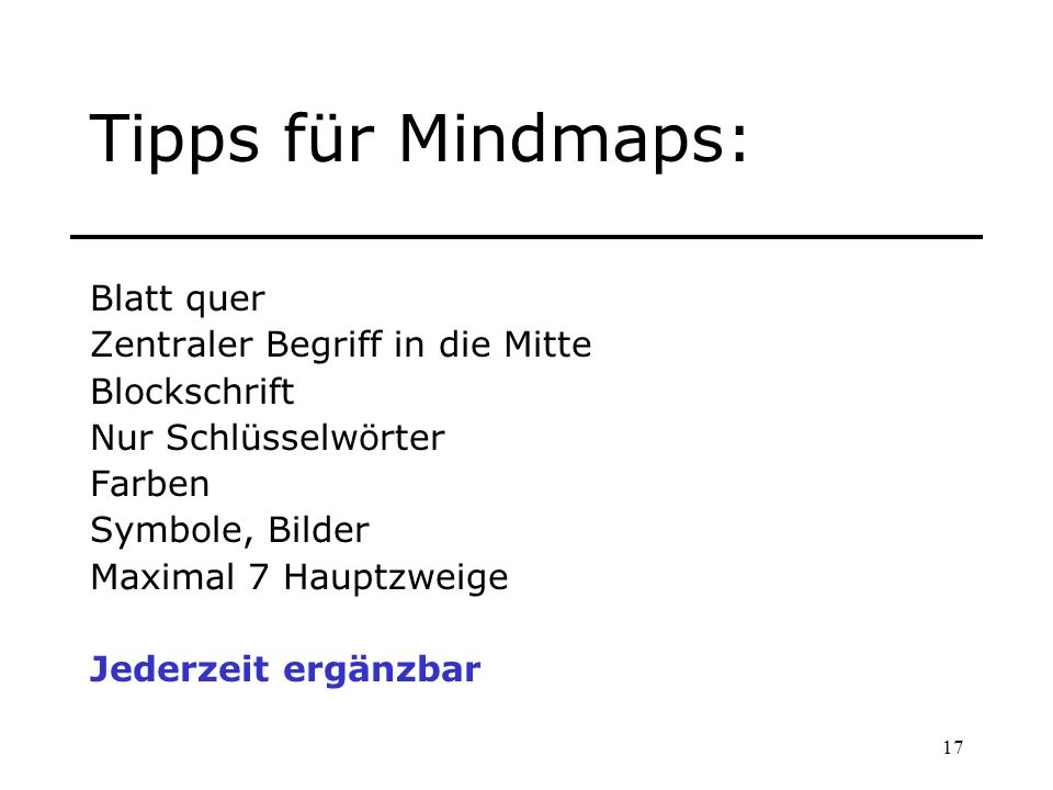 Tipps für Mindmaps: Blatt quer Zentraler Begriff in die Mitte