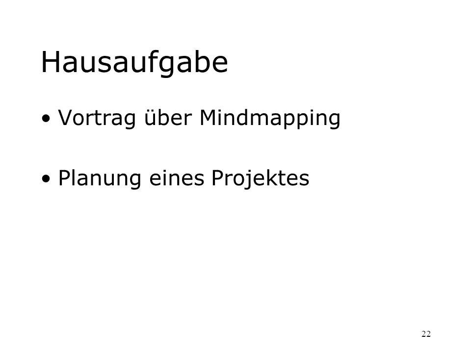Hausaufgabe Vortrag über Mindmapping Planung eines Projektes