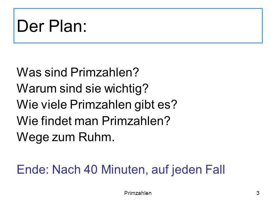 Der Plan: Was sind Primzahlen Warum sind sie wichtig