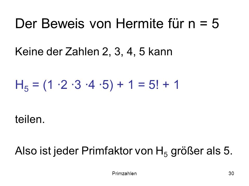 Der Beweis von Hermite für n = 5
