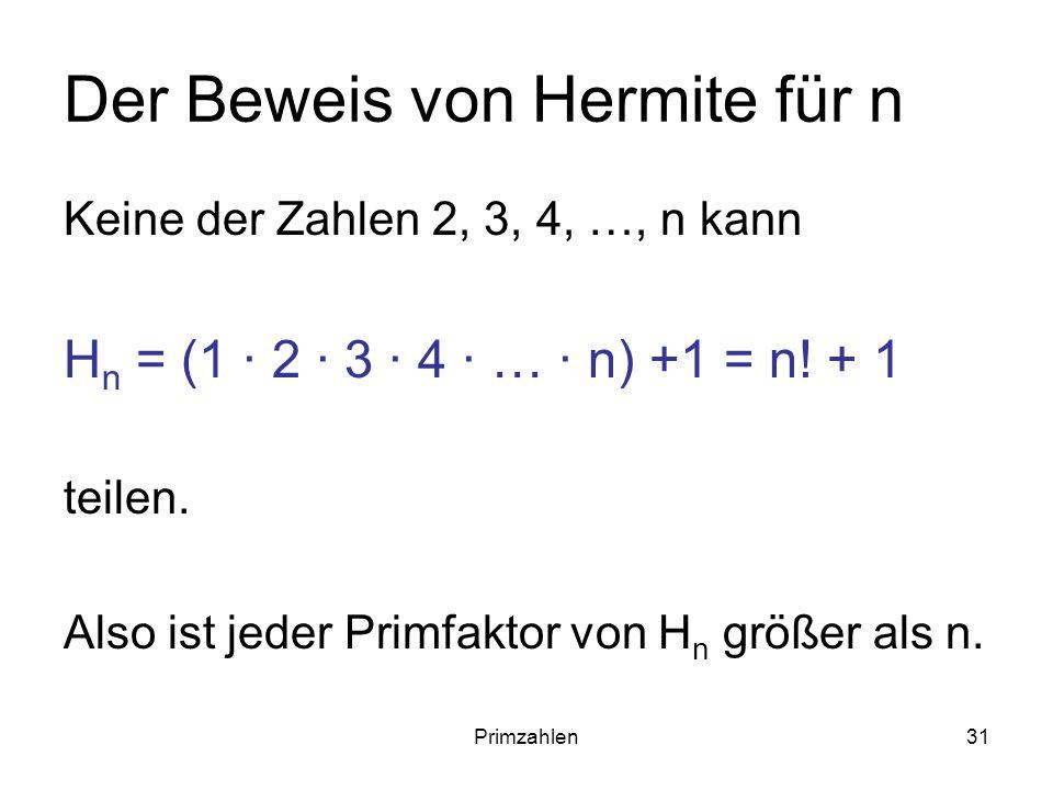 Der Beweis von Hermite für n