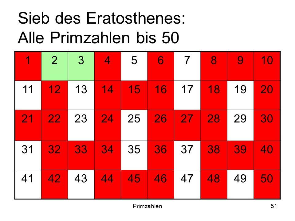 Sieb des Eratosthenes: Alle Primzahlen bis 50