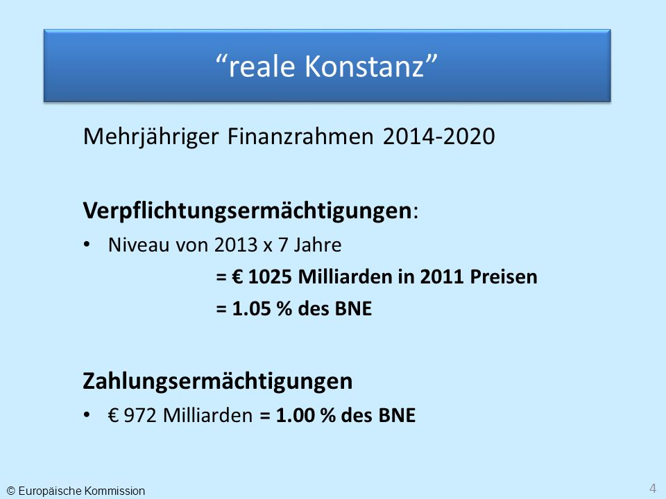 reale Konstanz Mehrjähriger Finanzrahmen 2014-2020