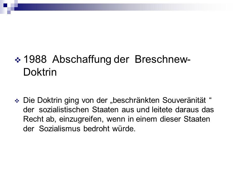 1988 Abschaffung der Breschnew- Doktrin