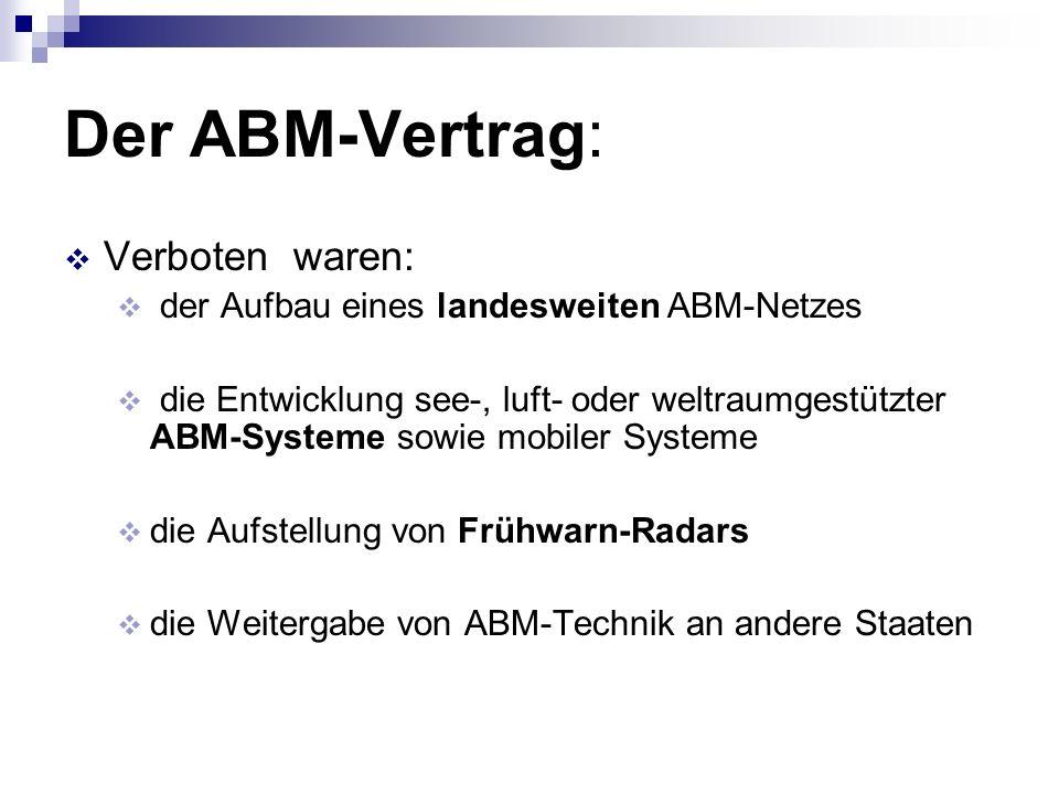 Der ABM-Vertrag: Verboten waren: