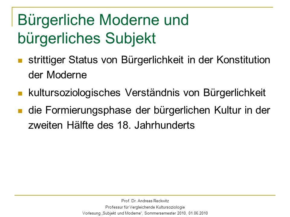 Bürgerliche Moderne und bürgerliches Subjekt