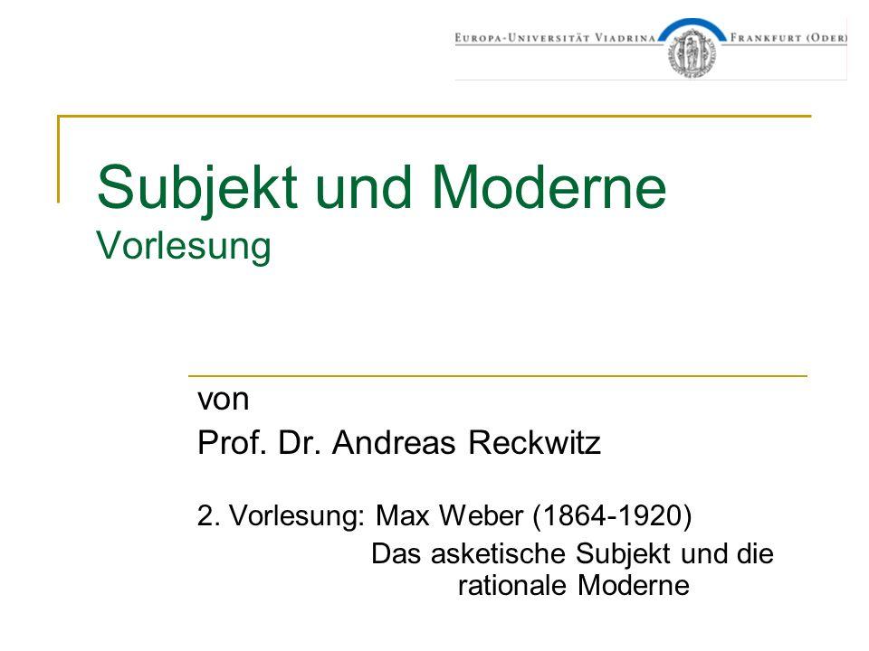 Subjekt und Moderne Vorlesung