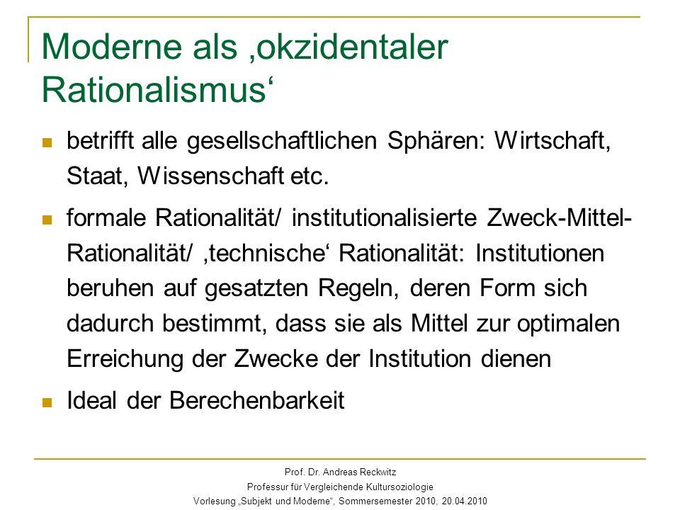 Moderne als 'okzidentaler Rationalismus'