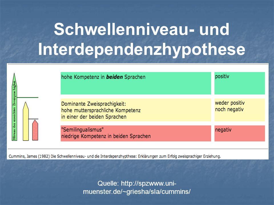 Schwellenniveau- und Interdependenzhypothese