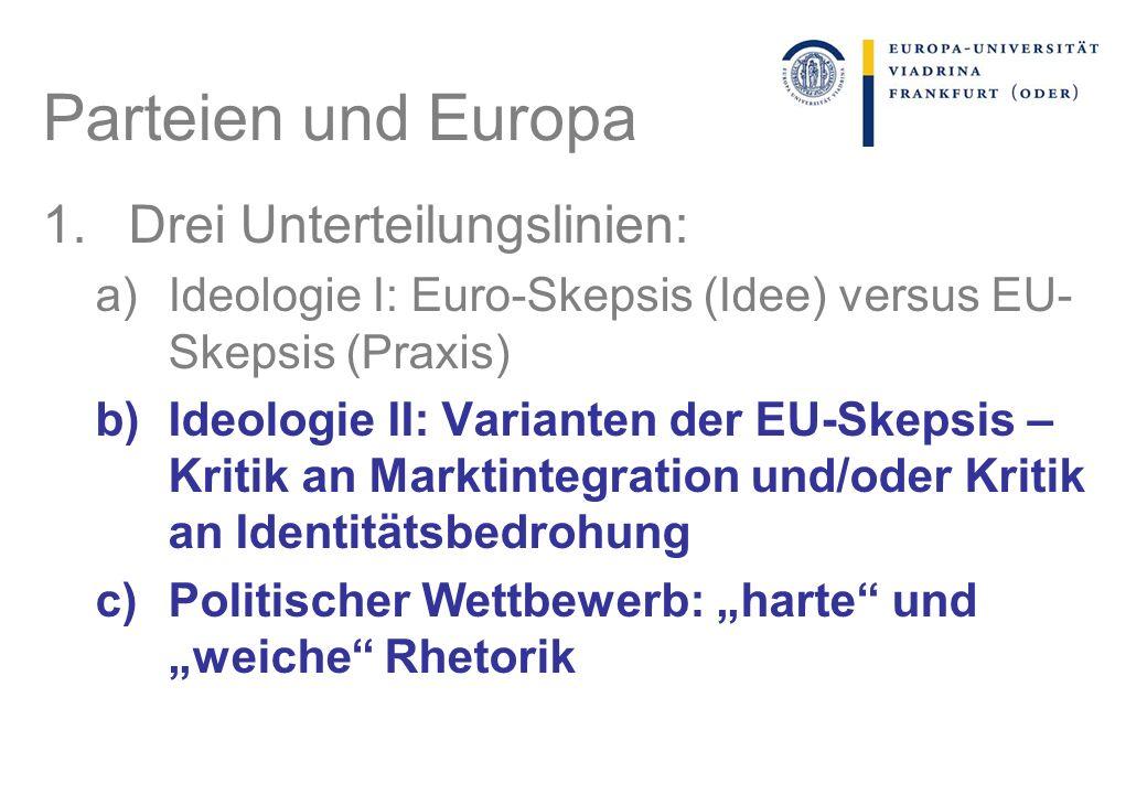 Parteien und Europa Drei Unterteilungslinien: