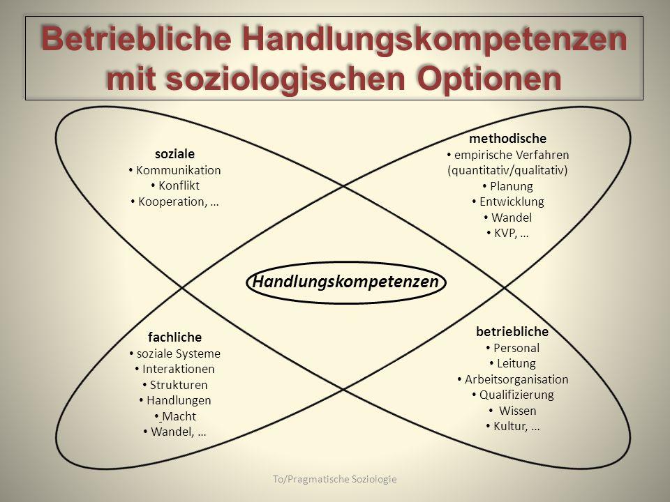 Betriebliche Handlungskompetenzen mit soziologischen Optionen