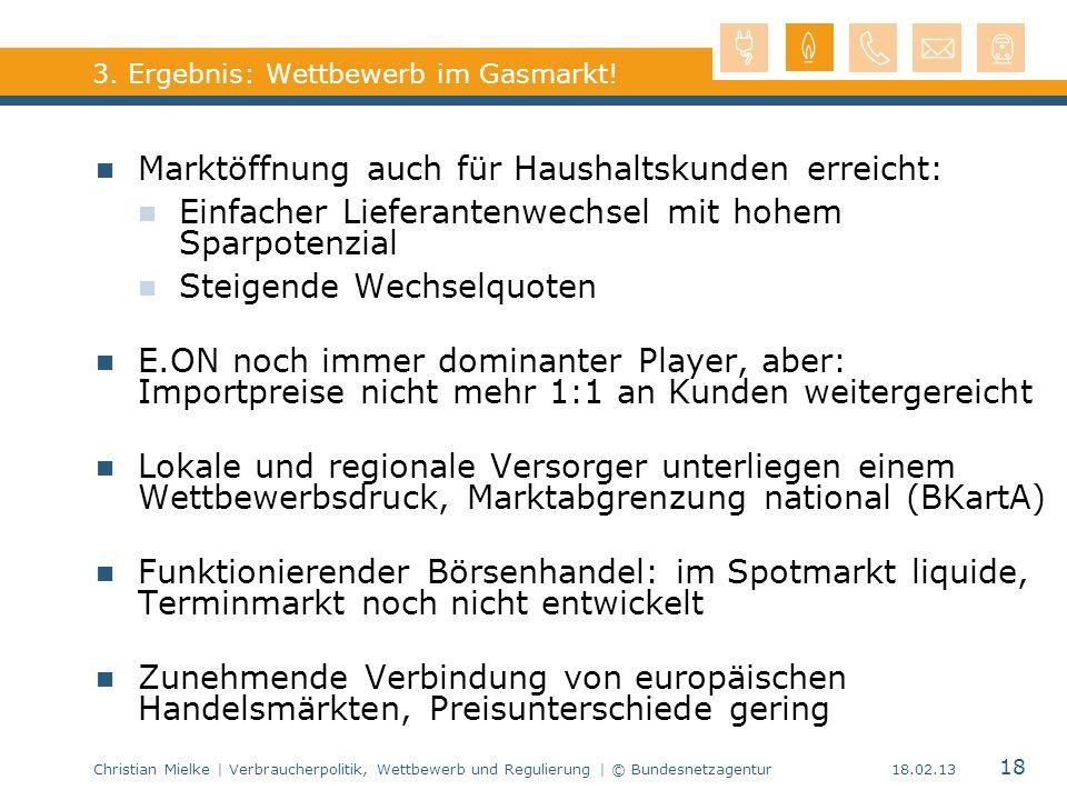 3. Ergebnis: Wettbewerb im Gasmarkt!