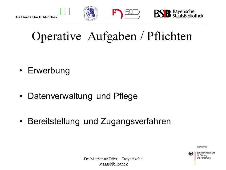 Operative Aufgaben / Pflichten