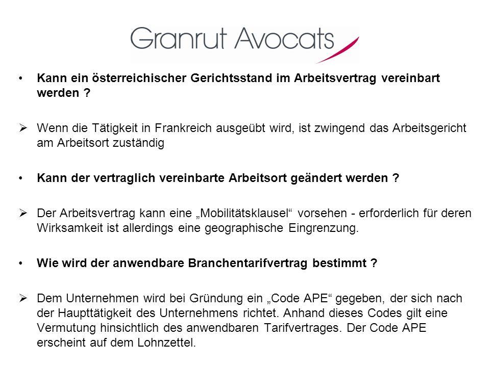 Kann ein österreichischer Gerichtsstand im Arbeitsvertrag vereinbart werden