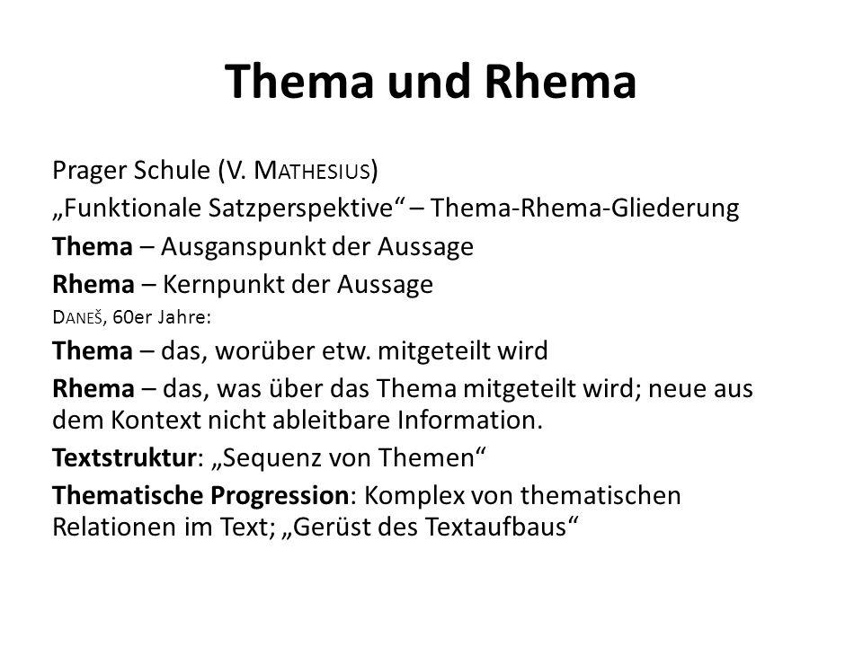 Thema und Rhema Prager Schule (V. Mathesius)
