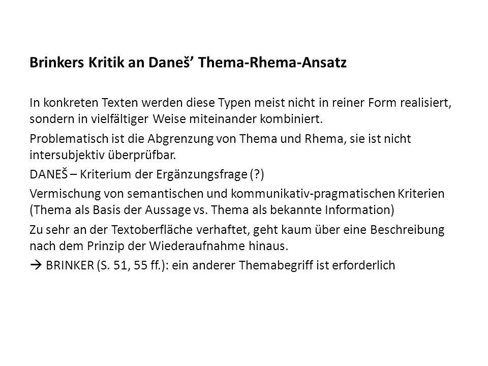 Brinkers Kritik an Daneš' Thema-Rhema-Ansatz